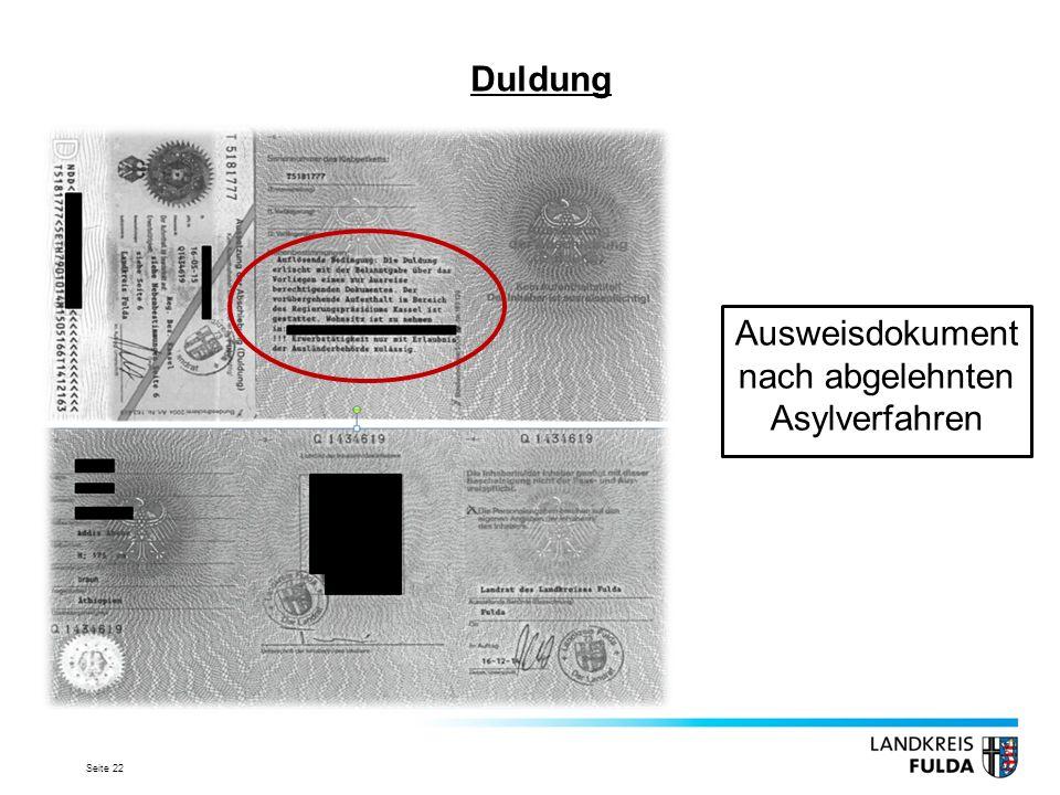 Seite 22 Duldung Ausweisdokument nach abgelehnten Asylverfahren