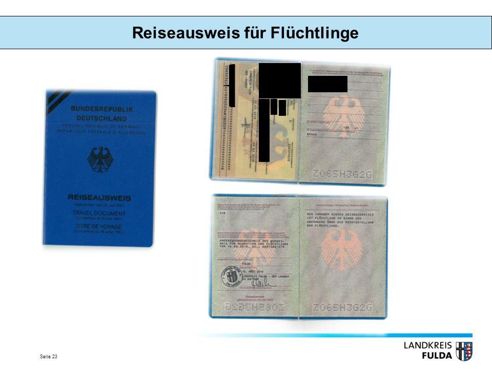 Seite 23 Reiseausweis für Flüchtlinge
