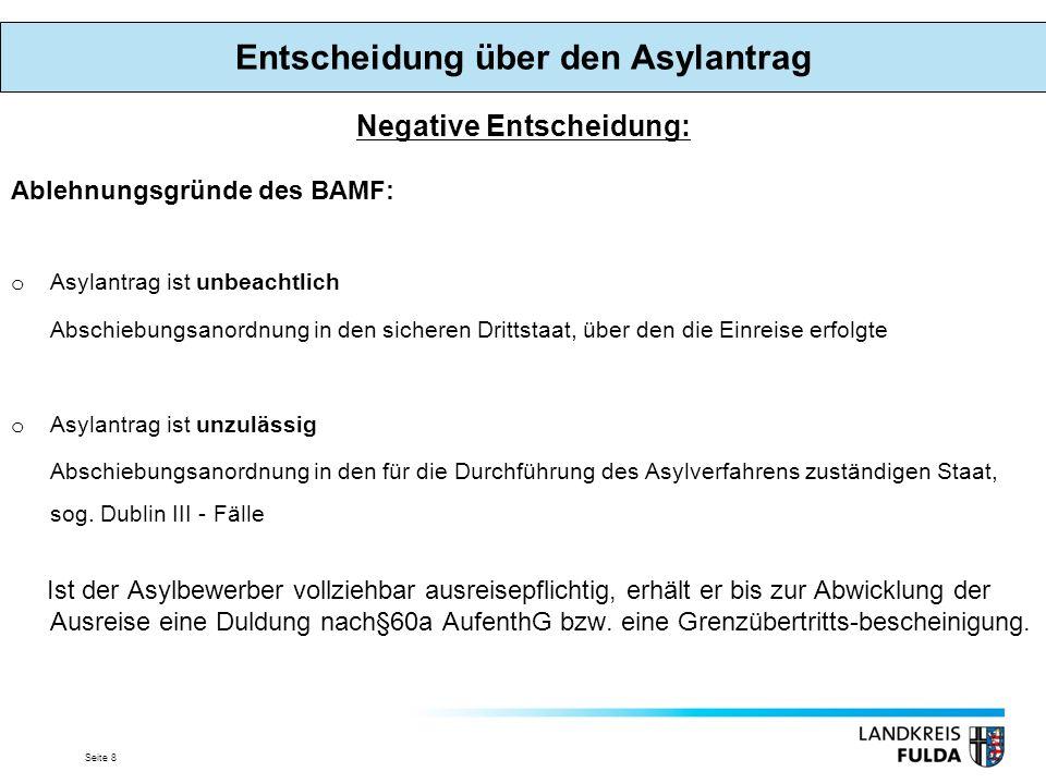 Seite 8 Negative Entscheidung: Ablehnungsgründe des BAMF: oAoAsylantrag ist unbeachtlich Abschiebungsanordnung in den sicheren Drittstaat, über den die Einreise erfolgte oAoAsylantrag ist unzulässig Abschiebungsanordnung in den für die Durchführung des Asylverfahrens zuständigen Staat, sog.