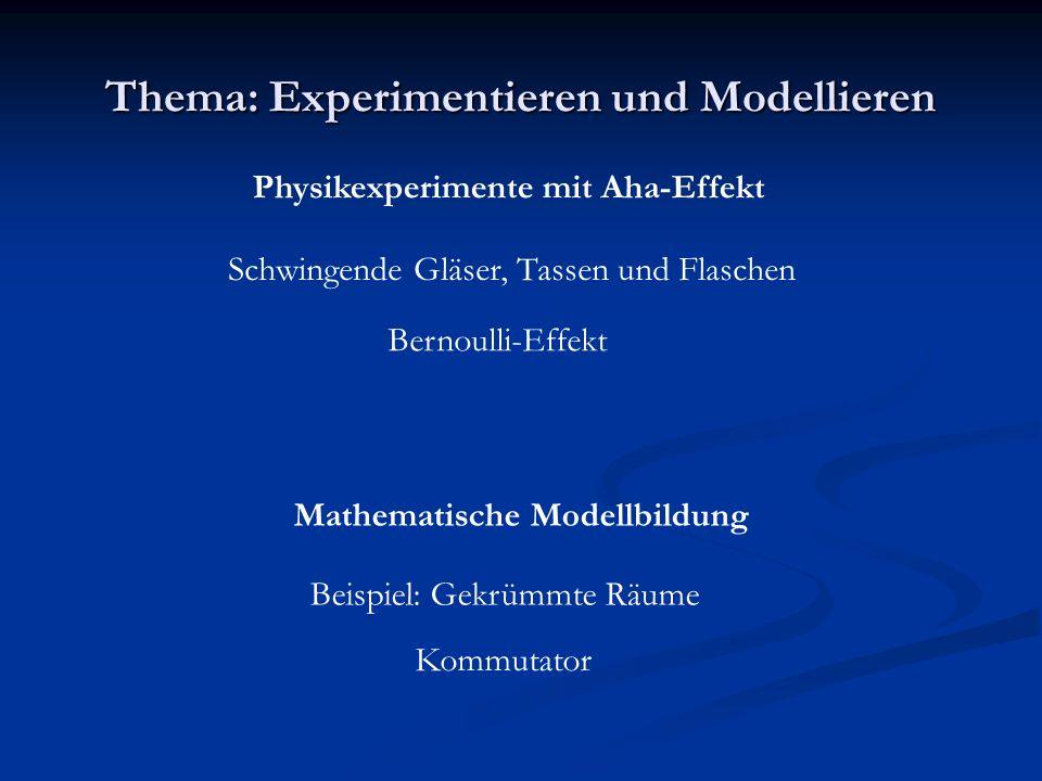 Thema: Experimentieren und Modellieren Physikexperimente mit Aha-Effekt Bernoulli-Effekt Mathematische Modellbildung Kommutator Schwingende Gläser, Tassen und Flaschen Beispiel: Gekrümmte Räume