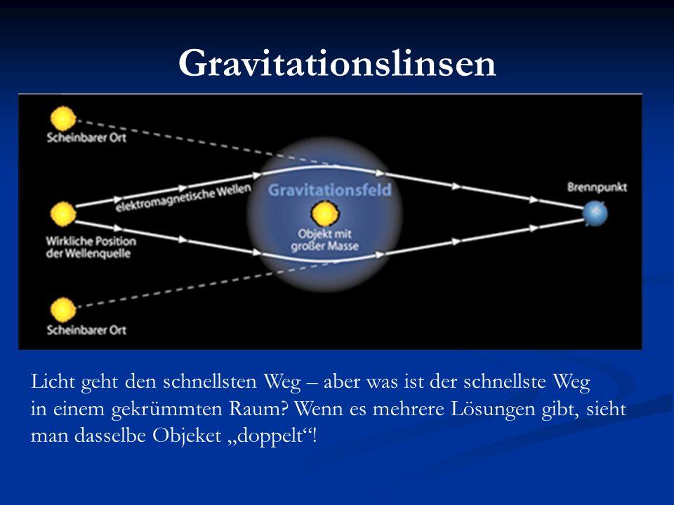 Gravitationslinsen Licht geht den schnellsten Weg – aber was ist der schnellste Weg in einem gekrümmten Raum? Wenn es mehrere Lösungen gibt, sieht man