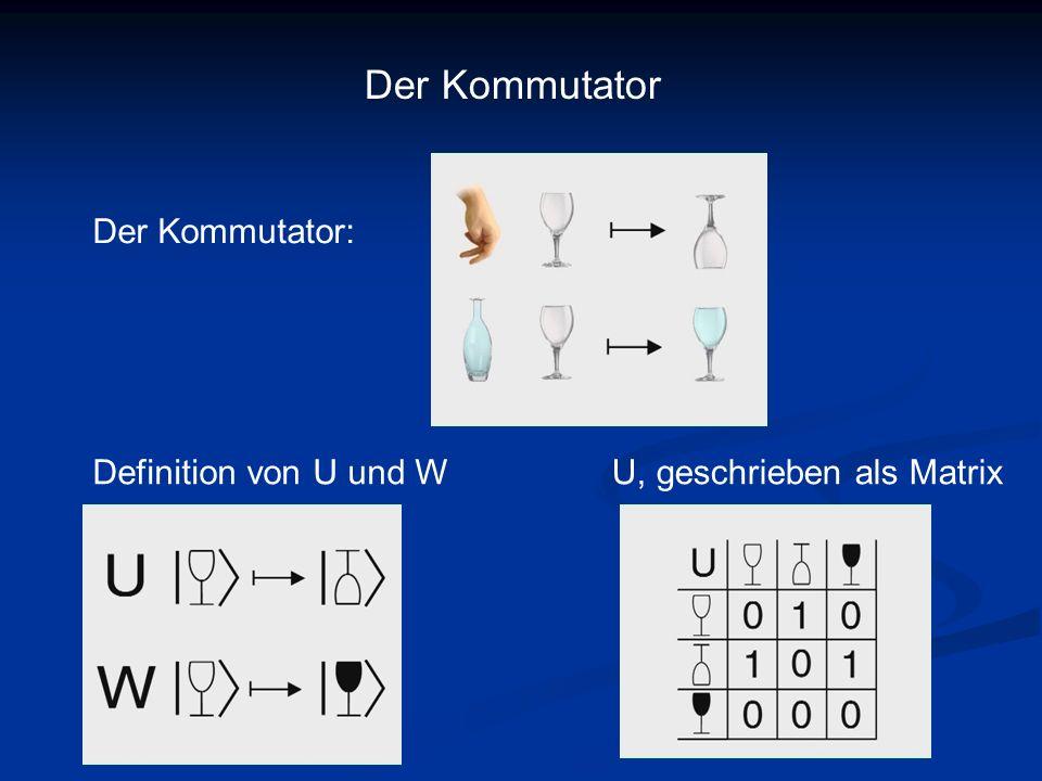 Der Kommutator Der Kommutator: Definition von U und W U, geschrieben als Matrix