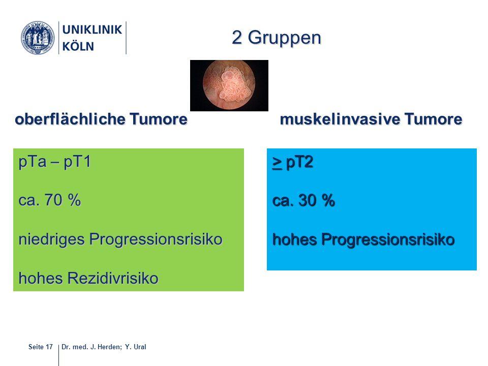 Dr. med. J. Herden; Y. UralSeite 17 2 Gruppen pTa – pT1 ca. 70 % niedriges Progressionsrisiko hohes Rezidivrisiko > pT2 ca. 30 % hohes Progressionsris