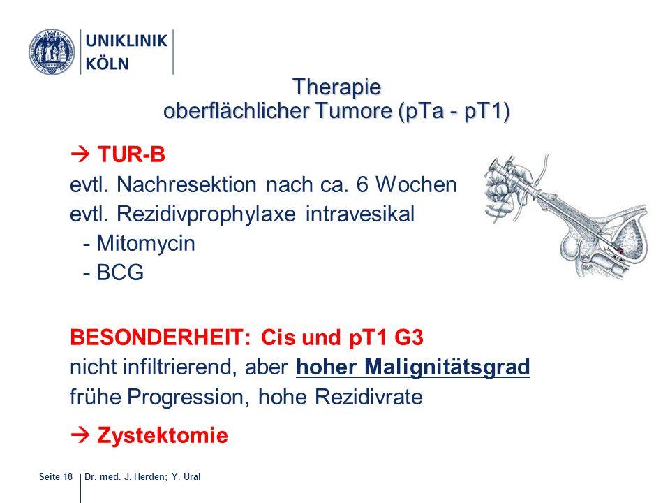 Dr. med. J. Herden; Y. UralSeite 18  TUR-B evtl. Nachresektion nach ca. 6 Wochen evtl. Rezidivprophylaxe intravesikal - Mitomycin - BCG BESONDERHEIT: