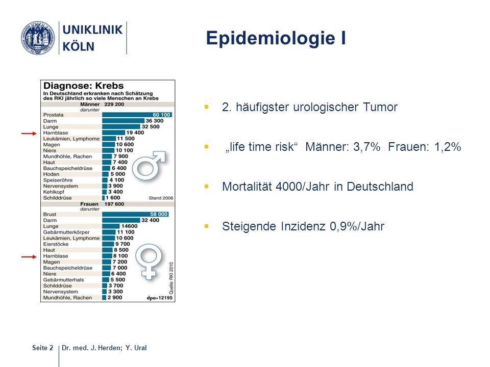"""Dr. med. J. Herden; Y. UralSeite 2 5-40  2. häufigster urologischer Tumor  """"life time risk"""" Männer: 3,7% Frauen: 1,2%  Mortalität 4000/Jahr in Deut"""