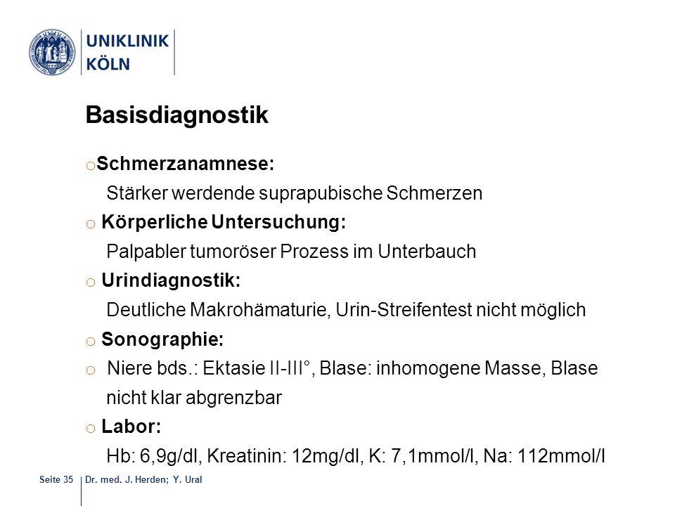 Dr. med. J. Herden; Y. UralSeite 35 Basisdiagnostik o Schmerzanamnese: Stärker werdende suprapubische Schmerzen o Körperliche Untersuchung: Palpabler