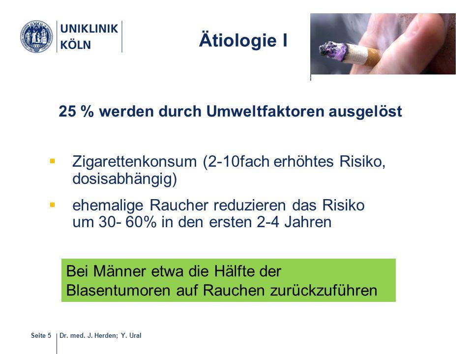 Dr. med. J. Herden; Y. UralSeite 5  Zigarettenkonsum (2-10fach erhöhtes Risiko, dosisabhängig)  ehemalige Raucher reduzieren das Risiko um 30- 60% i