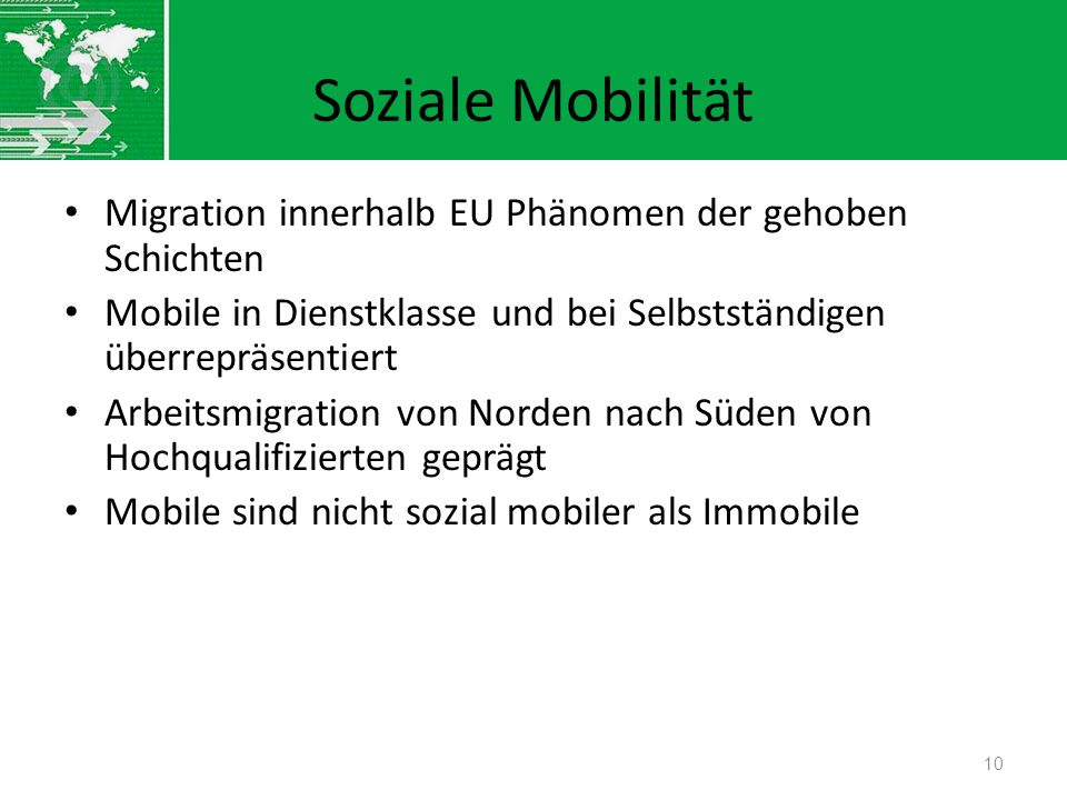 Soziale Mobilität Migration innerhalb EU Phänomen der gehoben Schichten Mobile in Dienstklasse und bei Selbstständigen überrepräsentiert Arbeitsmigrat