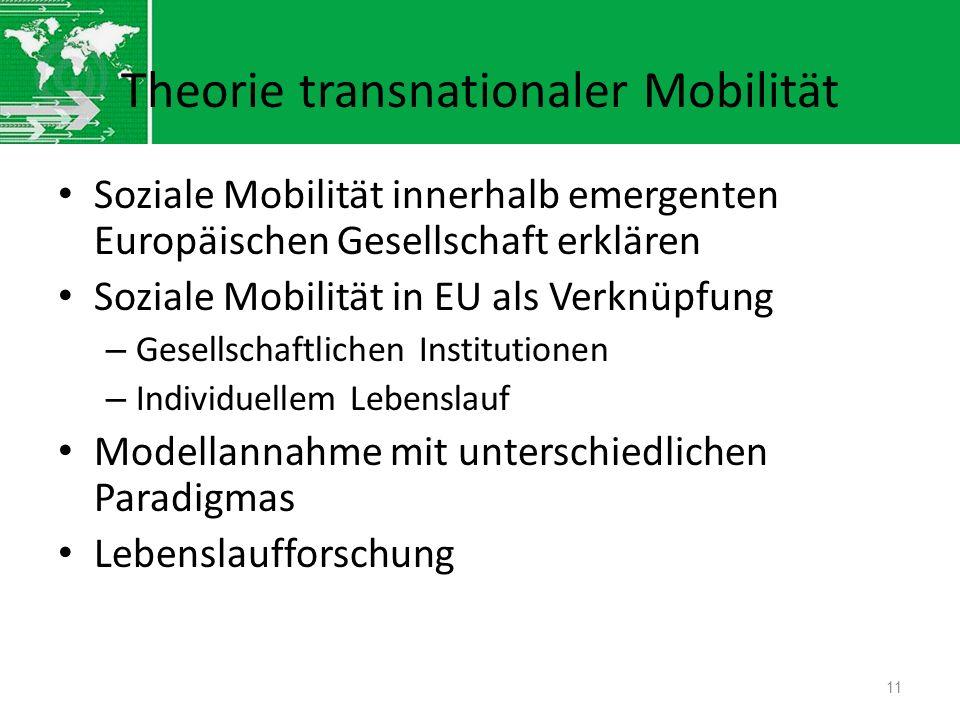 Theorie transnationaler Mobilität Soziale Mobilität innerhalb emergenten Europäischen Gesellschaft erklären Soziale Mobilität in EU als Verknüpfung –