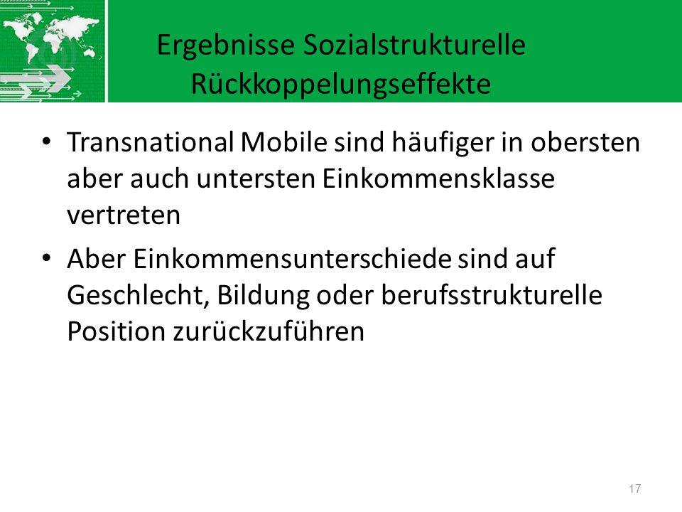 Ergebnisse Sozialstrukturelle Rückkoppelungseffekte Transnational Mobile sind häufiger in obersten aber auch untersten Einkommensklasse vertreten Aber