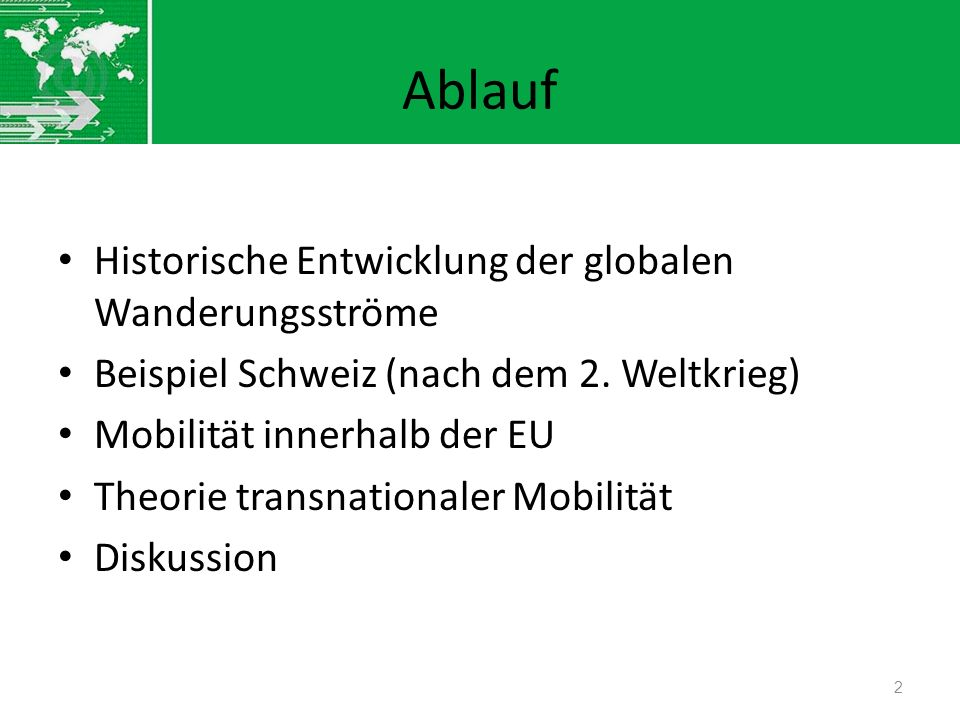 Ablauf Historische Entwicklung der globalen Wanderungsströme Beispiel Schweiz (nach dem 2. Weltkrieg) Mobilität innerhalb der EU Theorie transnational