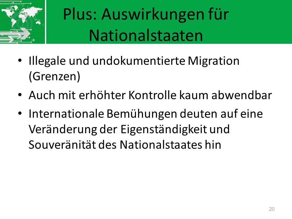Plus: Auswirkungen für Nationalstaaten Illegale und undokumentierte Migration (Grenzen) Auch mit erhöhter Kontrolle kaum abwendbar Internationale Bemü