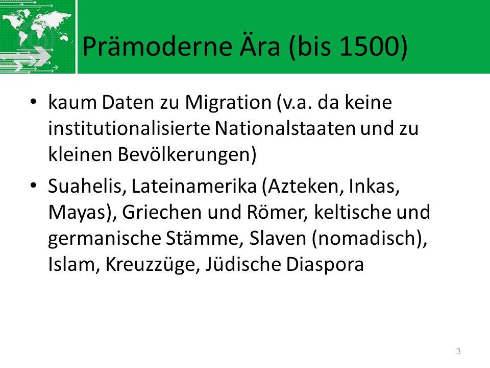 Prämoderne Ära (bis 1500) kaum Daten zu Migration (v.a. da keine institutionalisierte Nationalstaaten und zu kleinen Bevölkerungen) Suahelis, Lateinam