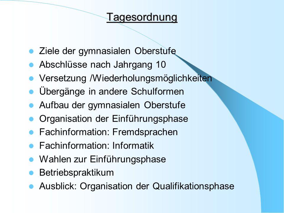 Ziele der gymnasialen Oberstufe / Abschlüsse Allgemeine Hochschulreife durch bestimmte Leistungen in vier Schulhalbjahren der Qualifikationsphase(Jg 11 und 12)und in der Abiturprüfung.