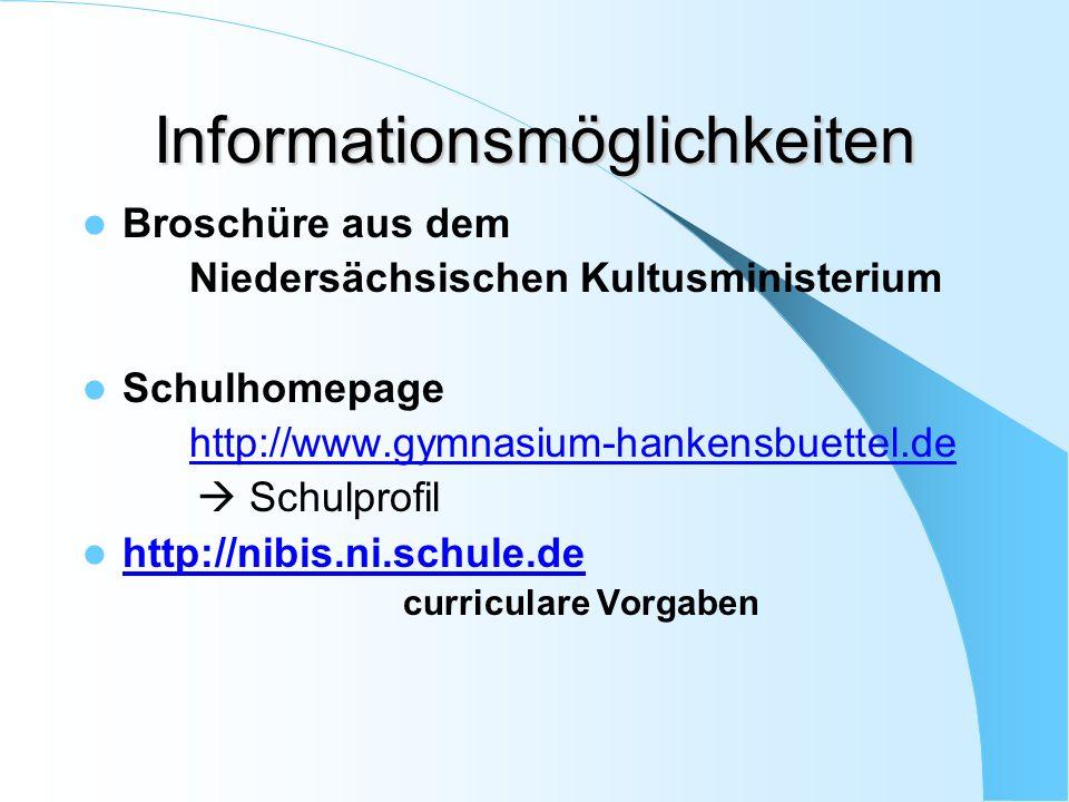 Informationsmöglichkeiten Broschüre aus dem Niedersächsischen Kultusministerium Schulhomepage http://www.gymnasium-hankensbuettel.de  Schulprofil http://nibis.ni.schule.de curriculare Vorgaben