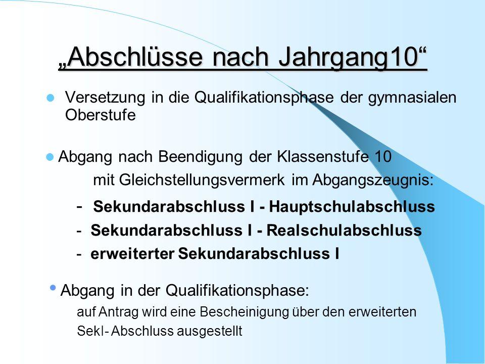 Versetzung in die Qualifikationsphase Deutsch, Fremdsprachen und Mathematik können nur untereinander ausgeglichen werden.