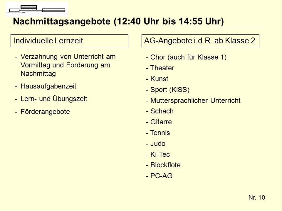 Nr. 10 Nachmittagsangebote (12:40 Uhr bis 14:55 Uhr) Individuelle LernzeitAG-Angebote i.d.R.