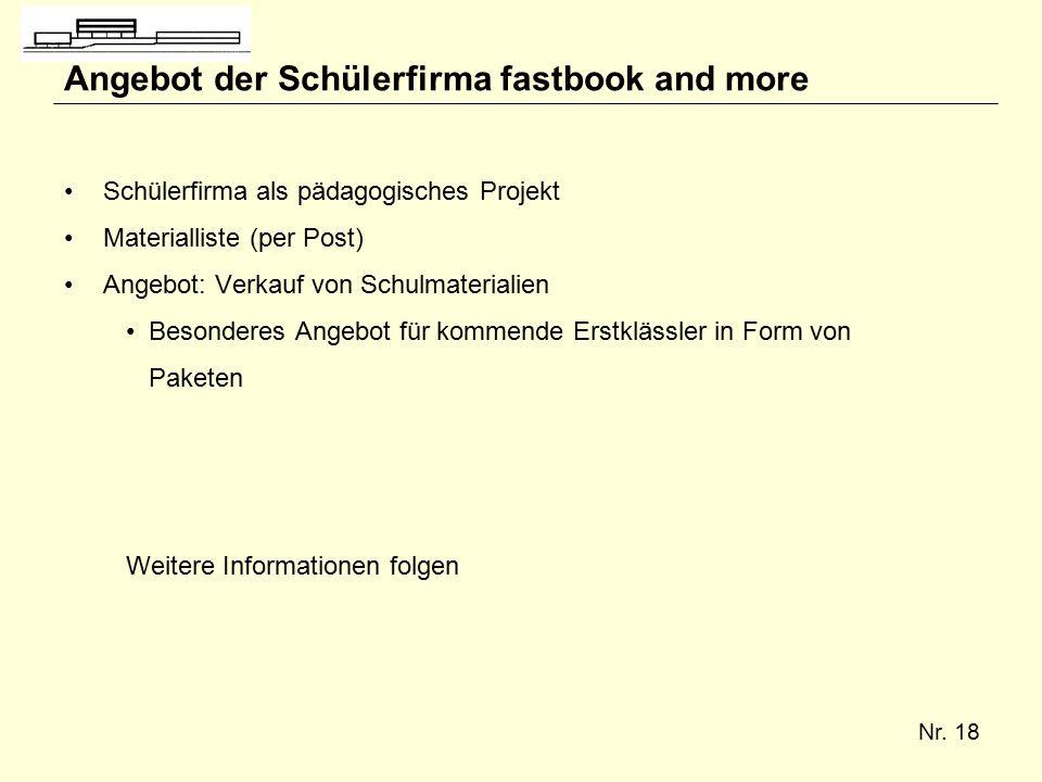 Nr. 18 Angebot der Schülerfirma fastbook and more Schülerfirma als pädagogisches Projekt Materialliste (per Post) Angebot: Verkauf von Schulmaterialie