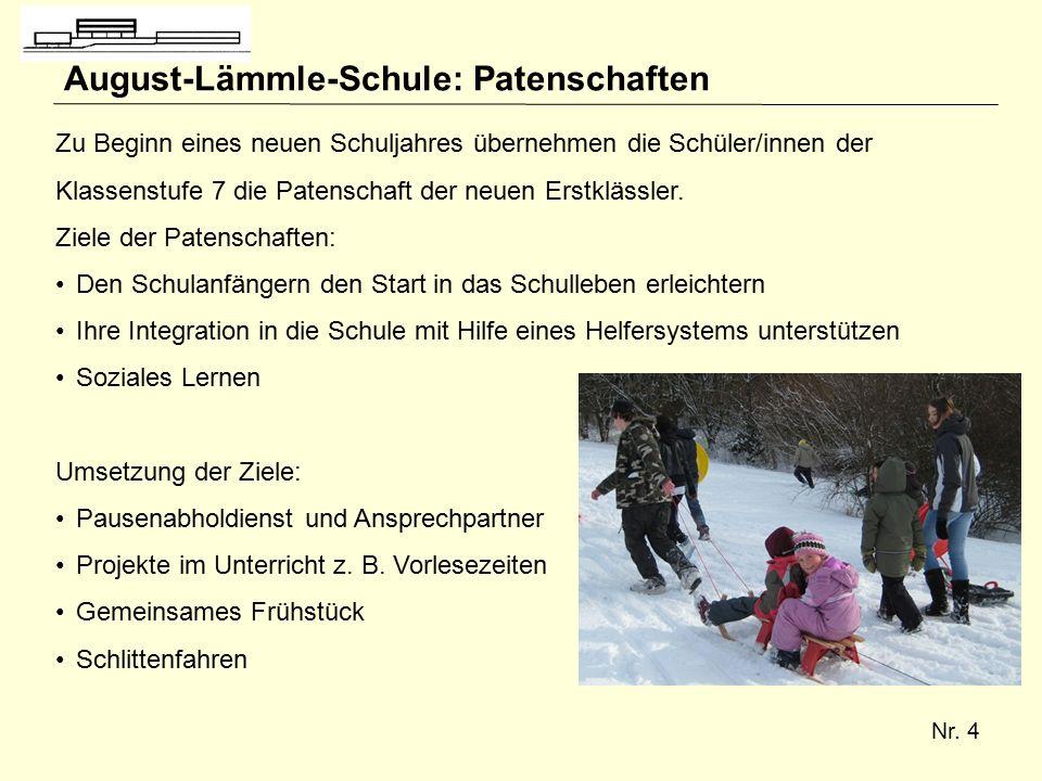 Nr. 4 August-Lämmle-Schule: Patenschaften Zu Beginn eines neuen Schuljahres übernehmen die Schüler/innen der Klassenstufe 7 die Patenschaft der neuen