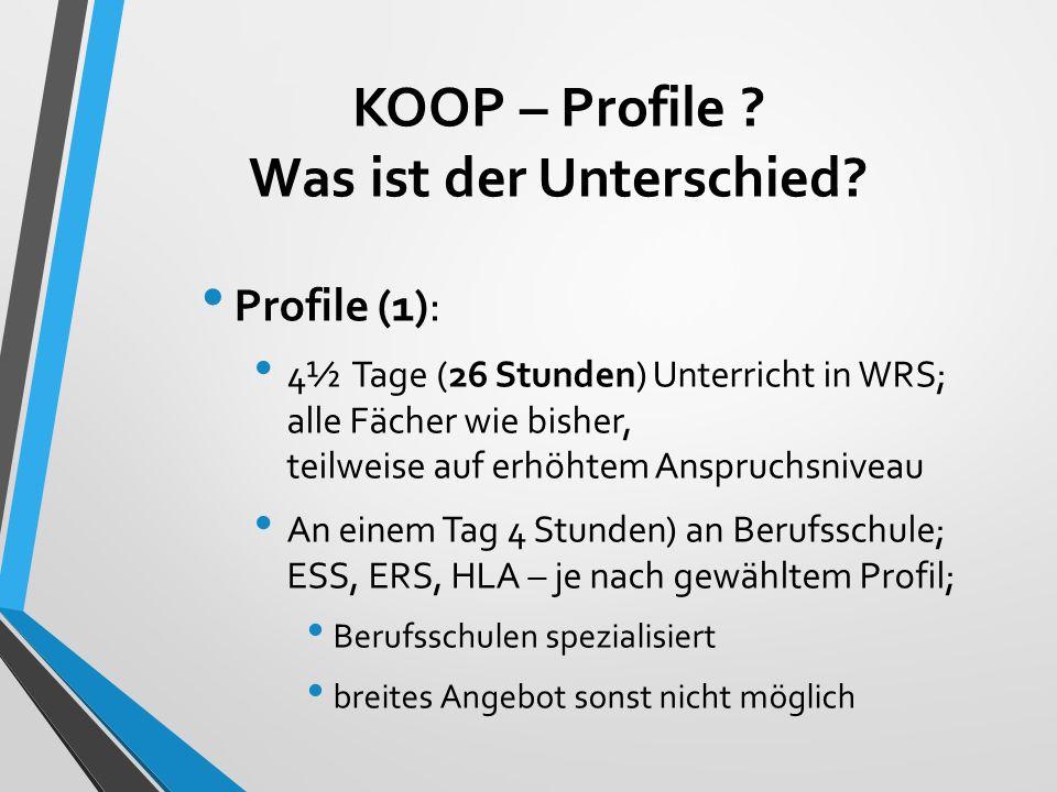 KOOP – Profile ? Was ist der Unterschied? Profile (1): 4½ Tage (26 Stunden) Unterricht in WRS; alle Fächer wie bisher, teilweise auf erhöhtem Anspruch