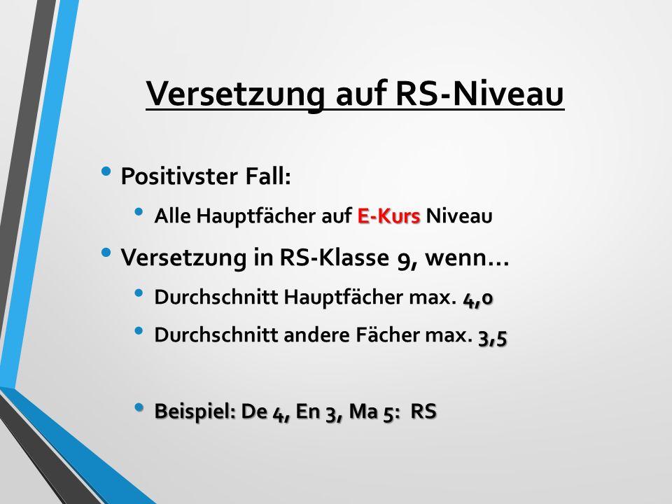Versetzung auf RS-Niveau Positivster Fall: E-Kurs Alle Hauptfächer auf E-Kurs Niveau Versetzung in RS-Klasse 9, wenn...