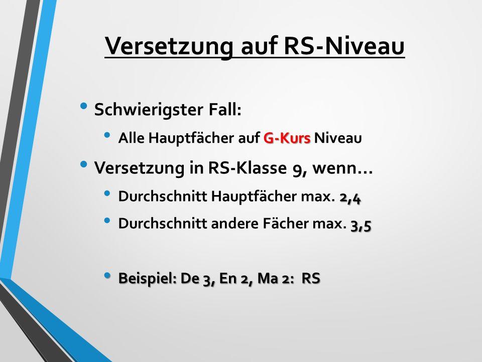 Versetzung auf RS-Niveau Schwierigster Fall: G-Kurs Alle Hauptfächer auf G-Kurs Niveau Versetzung in RS-Klasse 9, wenn... 2,4 Durchschnitt Hauptfächer