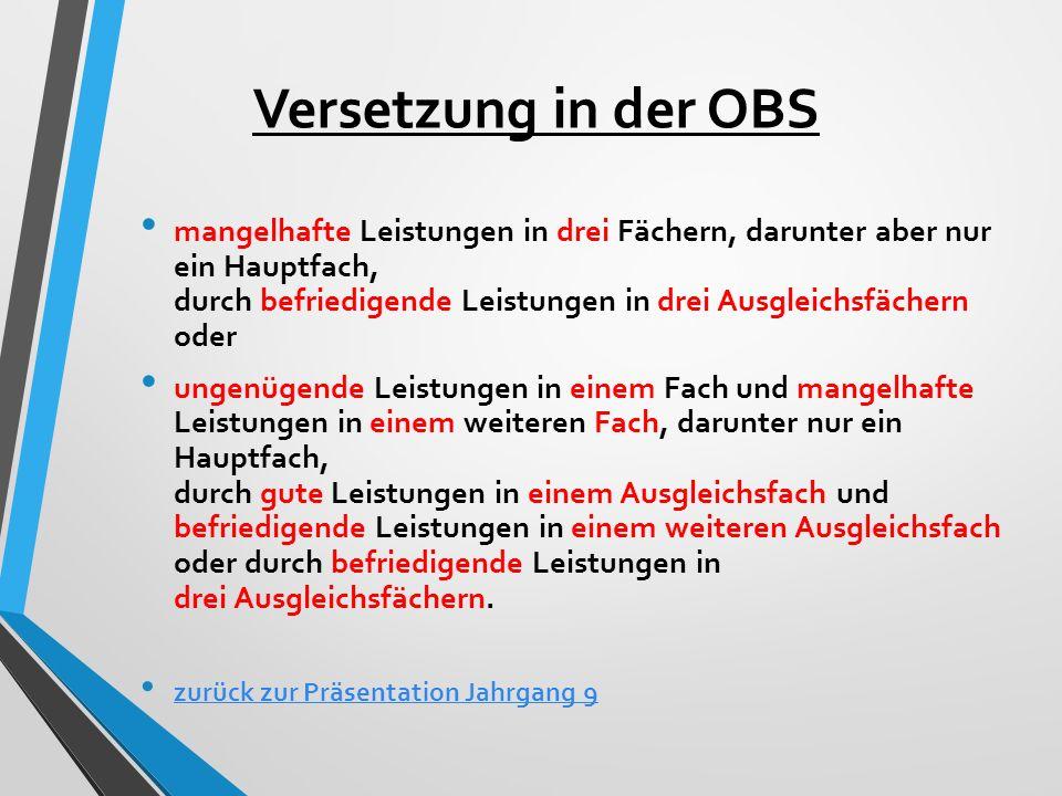 Versetzung in der OBS mangelhafte Leistungen in drei Fächern, darunter aber nur ein Hauptfach, durch befriedigende Leistungen in drei Ausgleichsfächer