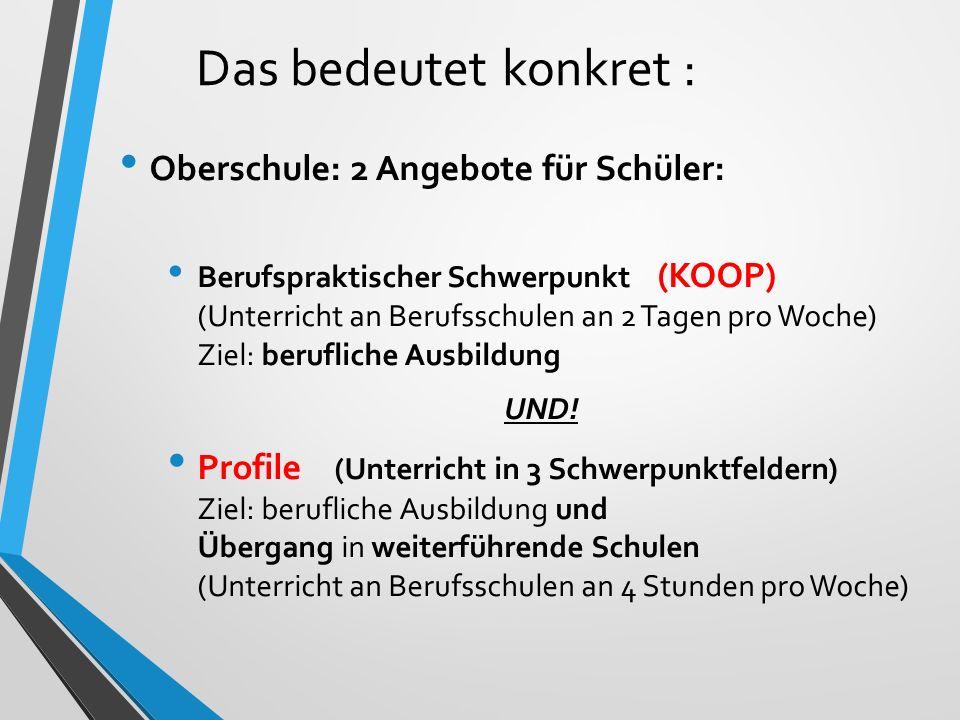 Das bedeutet konkret : Oberschule: 2 Angebote für Schüler: Berufspraktischer Schwerpunkt (KOOP) (Unterricht an Berufsschulen an 2 Tagen pro Woche) Ziel: berufliche Ausbildung UND.