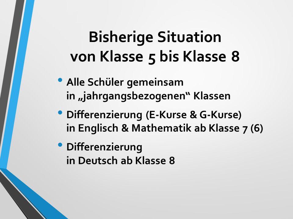 """Bisherige Situation von Klasse 5 bis Klasse 8 Alle Schüler gemeinsam in """"jahrgangsbezogenen Klassen Differenzierung (E-Kurse & G-Kurse) in Englisch & Mathematik ab Klasse 7 (6) Differenzierung in Deutsch ab Klasse 8"""
