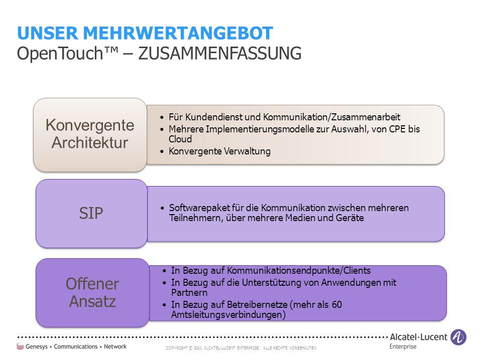 COPYRIGHT © 2011 ALCATEL-LUCENT ENTERPRISE. ALLE RECHTE VORBEHALTEN. Für Kundendienst und Kommunikation/Zusammenarbeit Mehrere Implementierungsmodelle
