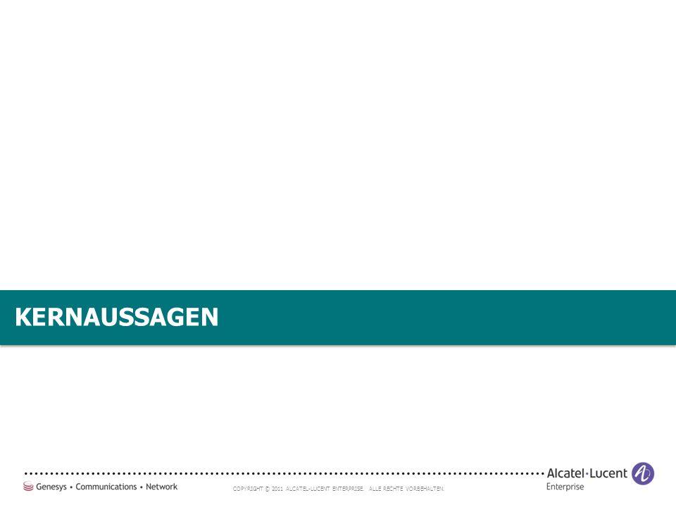 COPYRIGHT © 2011 ALCATEL-LUCENT ENTERPRISE. ALLE RECHTE VORBEHALTEN. KERNAUSSAGEN
