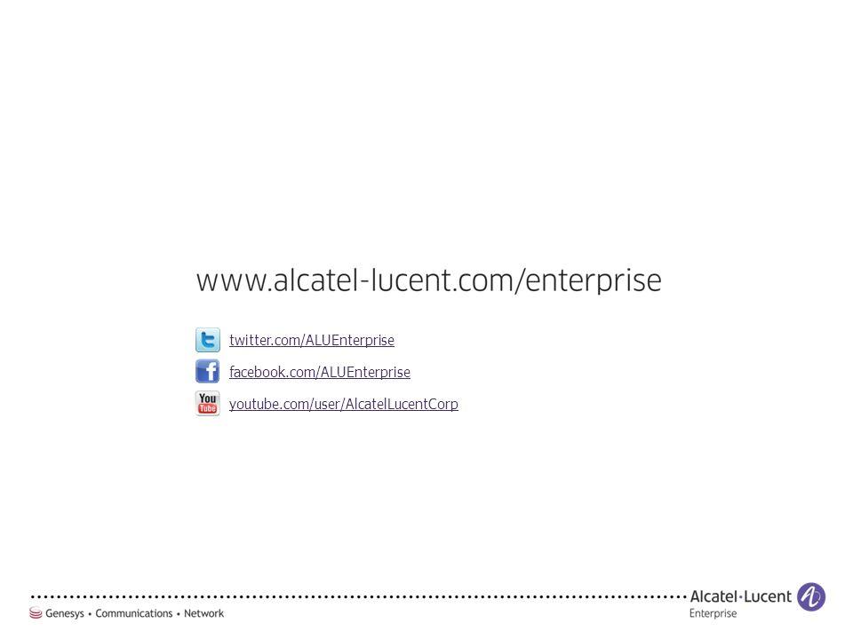 facebook.com/ALUEnterprise twitter.com/ALUEnterprise youtube.com/user/AlcatelLucentCorp