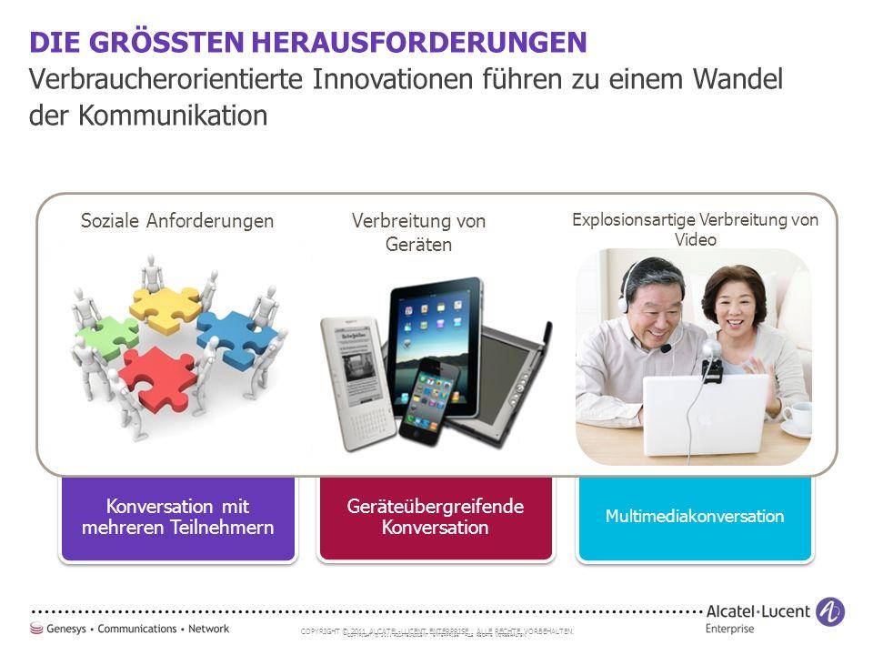COPYRIGHT © 2011 ALCATEL-LUCENT ENTERPRISE. ALLE RECHTE VORBEHALTEN. DIE GRÖSSTEN HERAUSFORDERUNGEN Verbraucherorientierte Innovationen führen zu eine