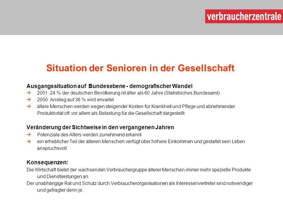Situation der Senioren in der Gesellschaft Ausgangssituation auf Bundesebene - demografischer Wandel  2001: 24 % der deutschen Bevölkerung ist älter