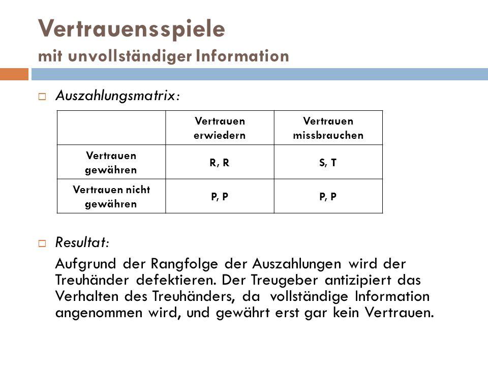 Vertrauensspiele mit unvollständiger Information  Auszahlungsmatrix:  Resultat: Aufgrund der Rangfolge der Auszahlungen wird der Treuhänder defektie