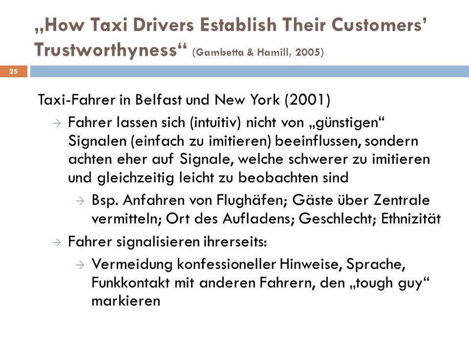 """Taxi-Fahrer in Belfast und New York (2001)  Fahrer lassen sich (intuitiv) nicht von """"günstigen"""" Signalen (einfach zu imitieren) beeinflussen, sondern"""