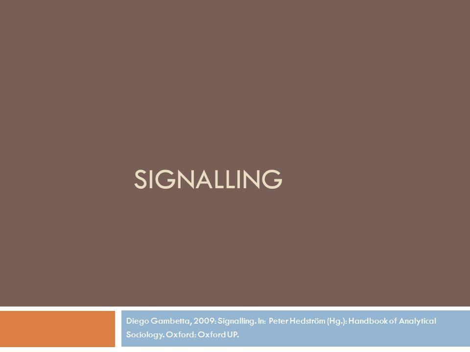 Sender – Empfänger  Sender  Verfügt entweder über eine Eigenschaft oder nicht  Sendet ein Signal das anzeigt, dass er die Eigenschaft besitzt  Nimmt evtl.