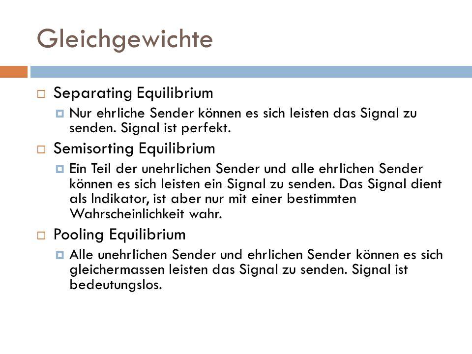 Gleichgewichte  Separating Equilibrium  Nur ehrliche Sender können es sich leisten das Signal zu senden. Signal ist perfekt.  Semisorting Equilibri