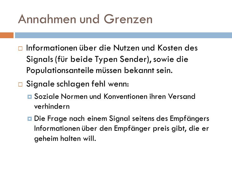 Annahmen und Grenzen  Informationen über die Nutzen und Kosten des Signals (für beide Typen Sender), sowie die Populationsanteile müssen bekannt sein