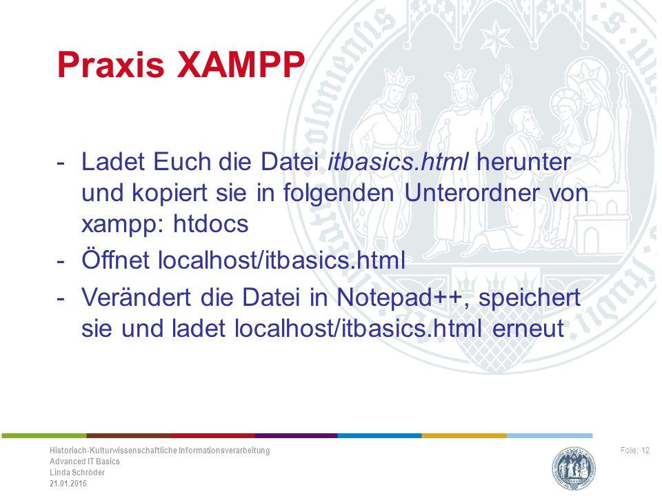 Historisch-Kulturwissenschaftliche Informationsverarbeitung Advanced IT Basics Linda Schröder 21.01.2016 Folie: 12 Praxis XAMPP -Ladet Euch die Datei itbasics.html herunter und kopiert sie in folgenden Unterordner von xampp: htdocs -Öffnet localhost/itbasics.html -Verändert die Datei in Notepad++, speichert sie und ladet localhost/itbasics.html erneut