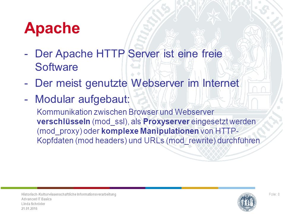 Historisch-Kulturwissenschaftliche Informationsverarbeitung Advanced IT Basics Linda Schröder 21.01.2016 Folie: 9 Download portable Version XAMPP -Bitte ladet Euch die portable Version von XAMPP herunter: -http://sourceforge.net/projects/xampp/files/XA MPP%20Windows/7.0.1/xampp-portable- win32-7.0.1-0-VC14.zip/downloadhttp://sourceforge.net/projects/xampp/files/XA MPP%20Windows/7.0.1/xampp-portable- win32-7.0.1-0-VC14.zip/download -Entpackt die.zip-Datei auf Euren Desktop!