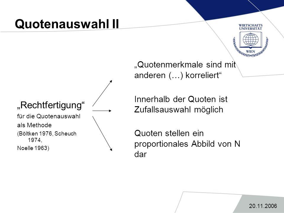 """20.11.2006 Quotenauswahl II """"Rechtfertigung"""" für die Quotenauswahl als Methode (Böltken 1976, Scheuch 1974, Noelle 1963) """"Quotenmerkmale sind mit ande"""