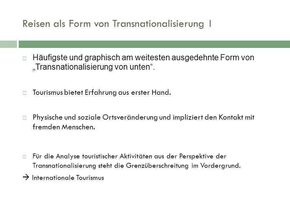 """Reisen als Form von Transnationalisierung I  Häufigste und graphisch am weitesten ausgedehnte Form von """"Transnationalisierung von unten ."""
