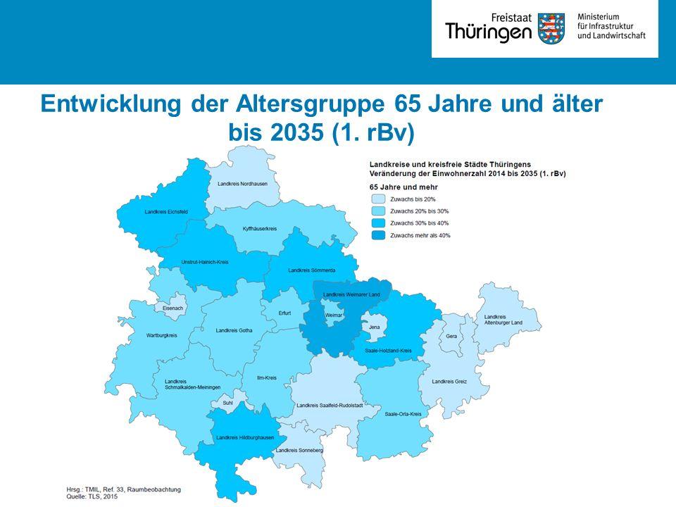Entwicklung der Altersgruppe 65 Jahre und älter bis 2035 (1. rBv)