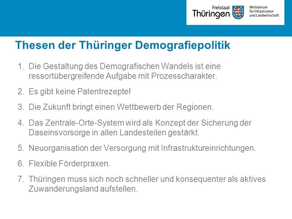 Thesen der Thüringer Demografiepolitik 1.Die Gestaltung des Demografischen Wandels ist eine ressortübergreifende Aufgabe mit Prozesscharakter. 2.Es gi