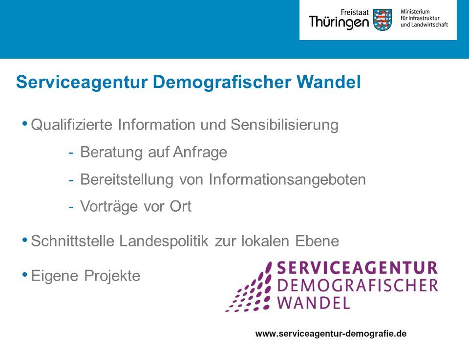 Serviceagentur Demografischer Wandel Qualifizierte Information und Sensibilisierung -Beratung auf Anfrage -Bereitstellung von Informationsangeboten -V