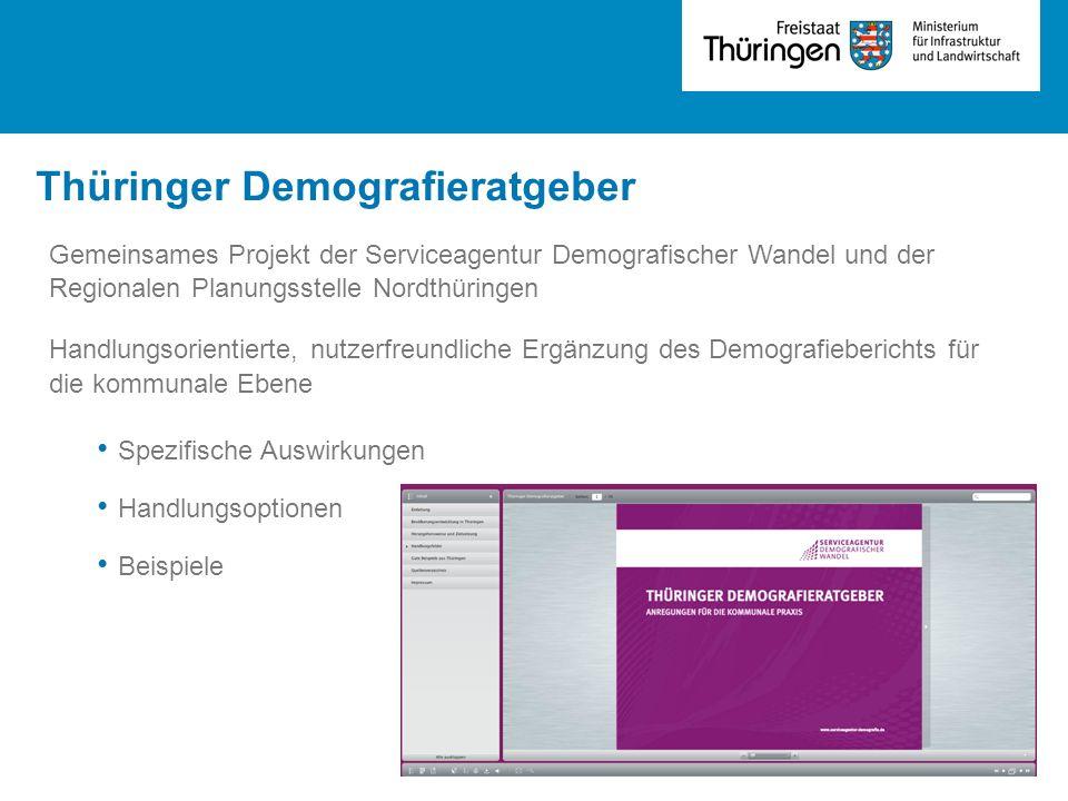 Thüringer Demografieratgeber Gemeinsames Projekt der Serviceagentur Demografischer Wandel und der Regionalen Planungsstelle Nordthüringen Handlungsorientierte, nutzerfreundliche Ergänzung des Demografieberichts für die kommunale Ebene Spezifische Auswirkungen Handlungsoptionen Beispiele