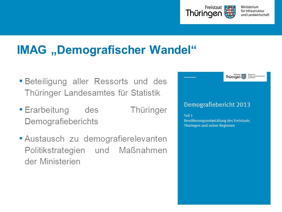 """IMAG """"Demografischer Wandel"""" Beteiligung aller Ressorts und des Thüringer Landesamtes für Statistik Erarbeitung des Thüringer Demografieberichts Austa"""