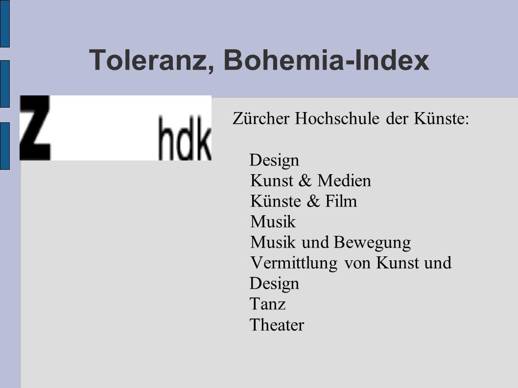 Toleranz, Bohemia-Index Zürcher Hochschule der Künste: Design Kunst & Medien Künste & Film Musik Musik und Bewegung Vermittlung von Kunst und Design Tanz Theater