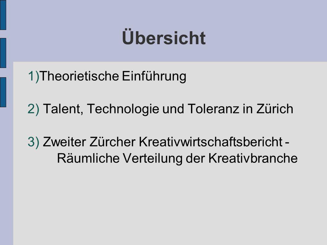 Übersicht 1)Theorietische Einführung 2) Talent, Technologie und Toleranz in Zürich 3) Zweiter Zürcher Kreativwirtschaftsbericht - Räumliche Verteilung der Kreativbranche